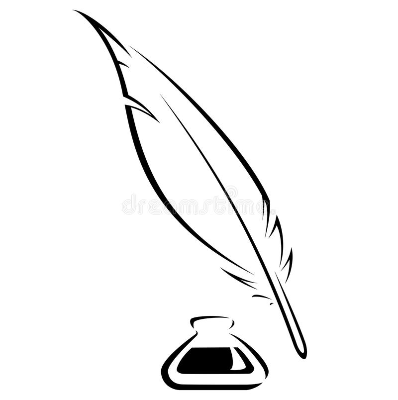 quill and ink pot black vector icon stock vector