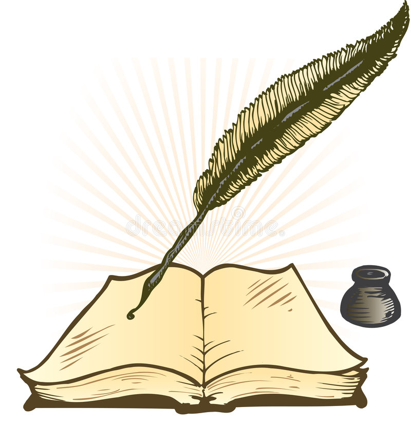 Quill Ink Pot and Open Book Vector Illustration royalty free illustration