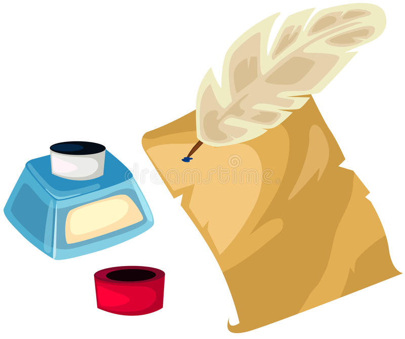 Quill ink pot and paper stock illustration