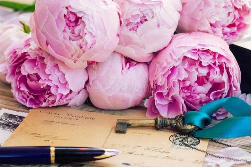 Quill pen and antique letters royalty free stock images