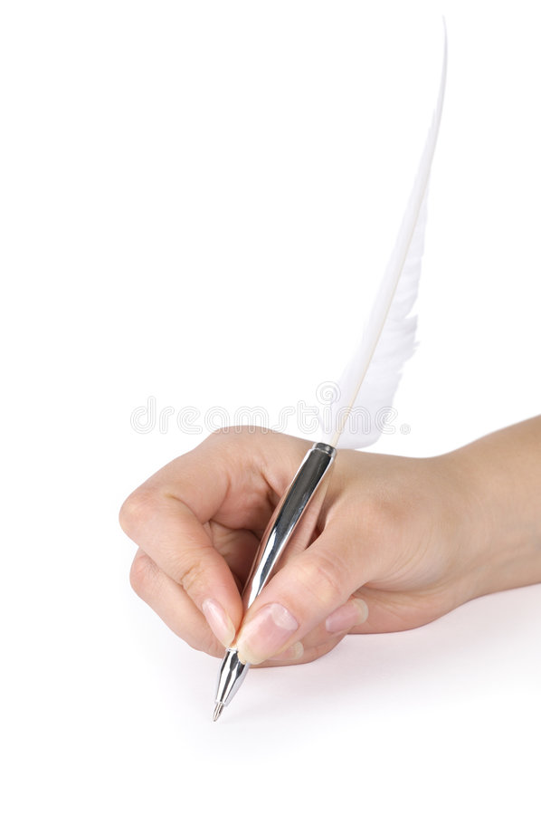 Download Quill pen in a hand stock photo. Image of symbol, cutout - 8743988