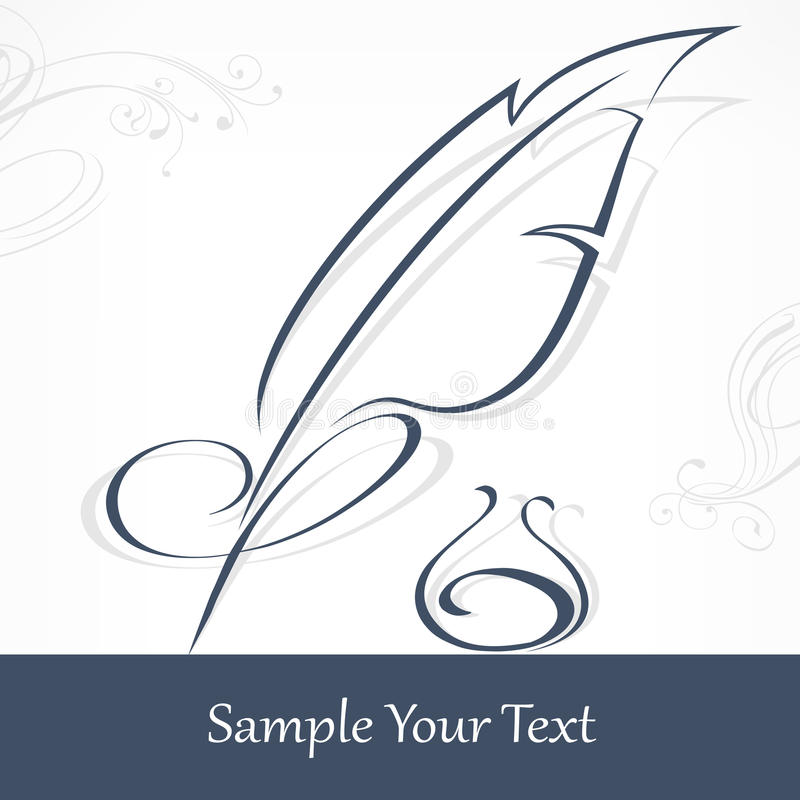Quill pen and text stock illustration