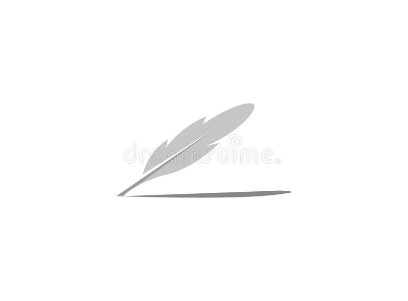 Quill or Plume with shadow for logo vector illustration