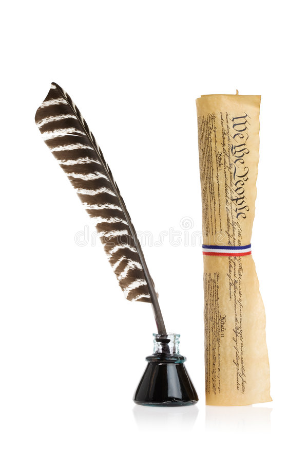 Quill and United States Constitution royalty free stock images