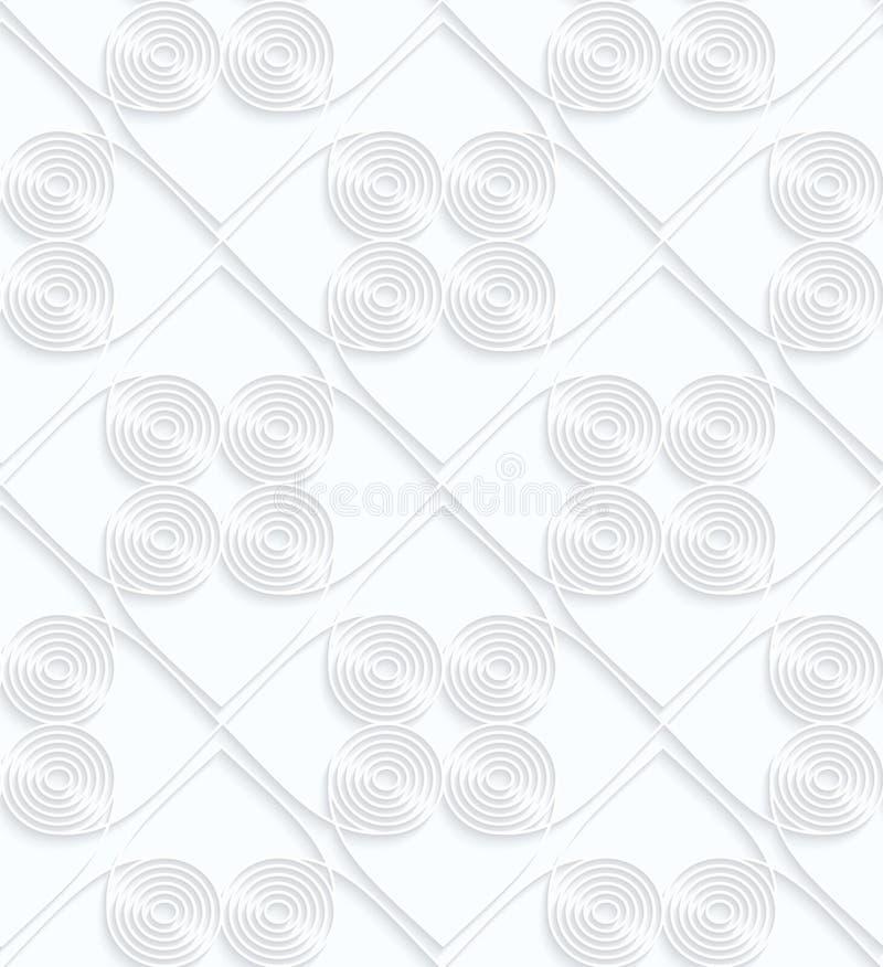 Quilling白皮书盘旋与在正方形里面的垂距 库存例证