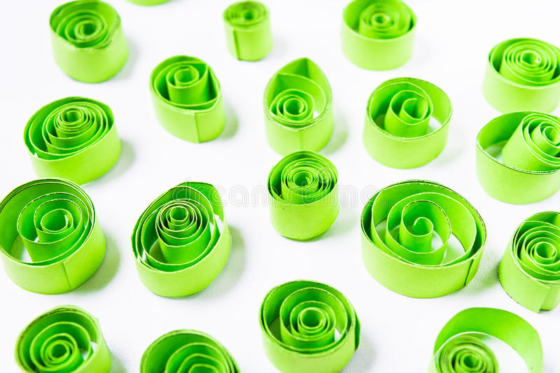 Quilling art. Green paper curls stock image