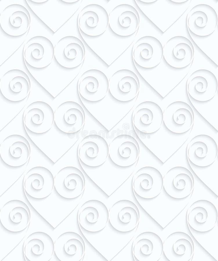 Quilling białego papieru serca z zawijasami w rzędzie royalty ilustracja