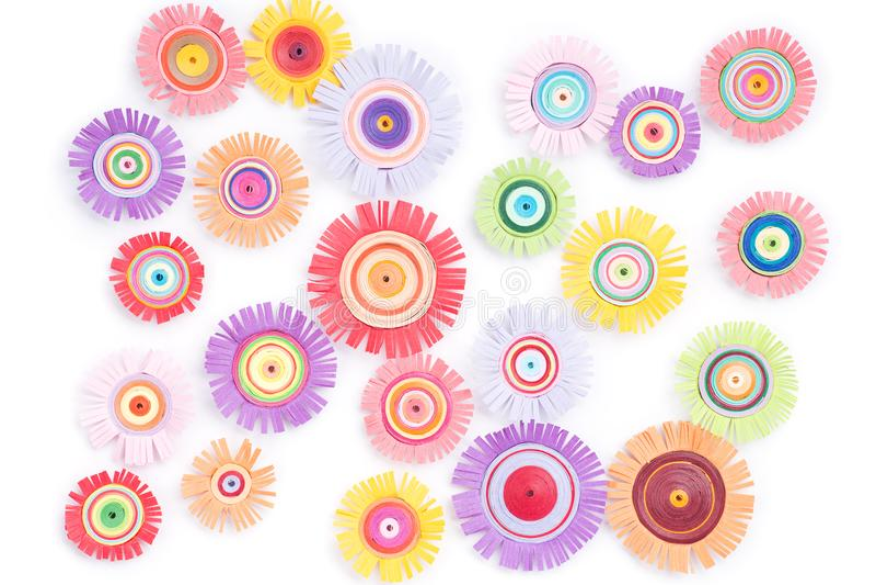 Quilling com flores coloridas fotos de stock royalty free