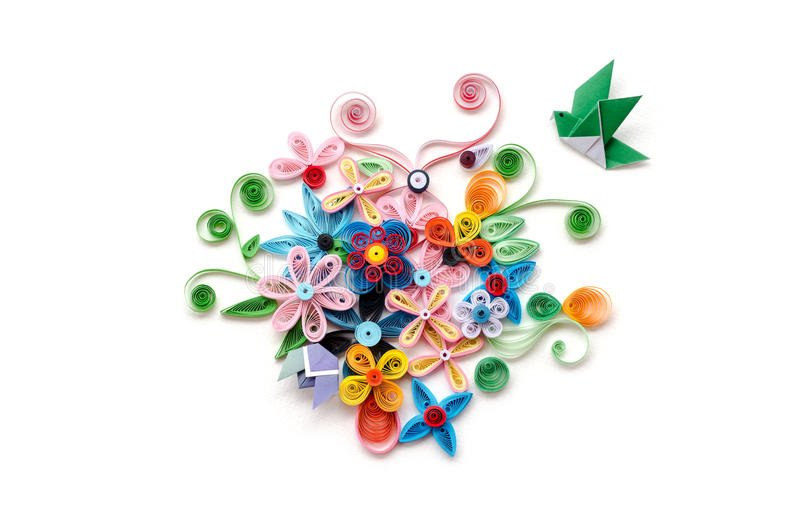 Quilling flower paper on white background royalty free stock photography