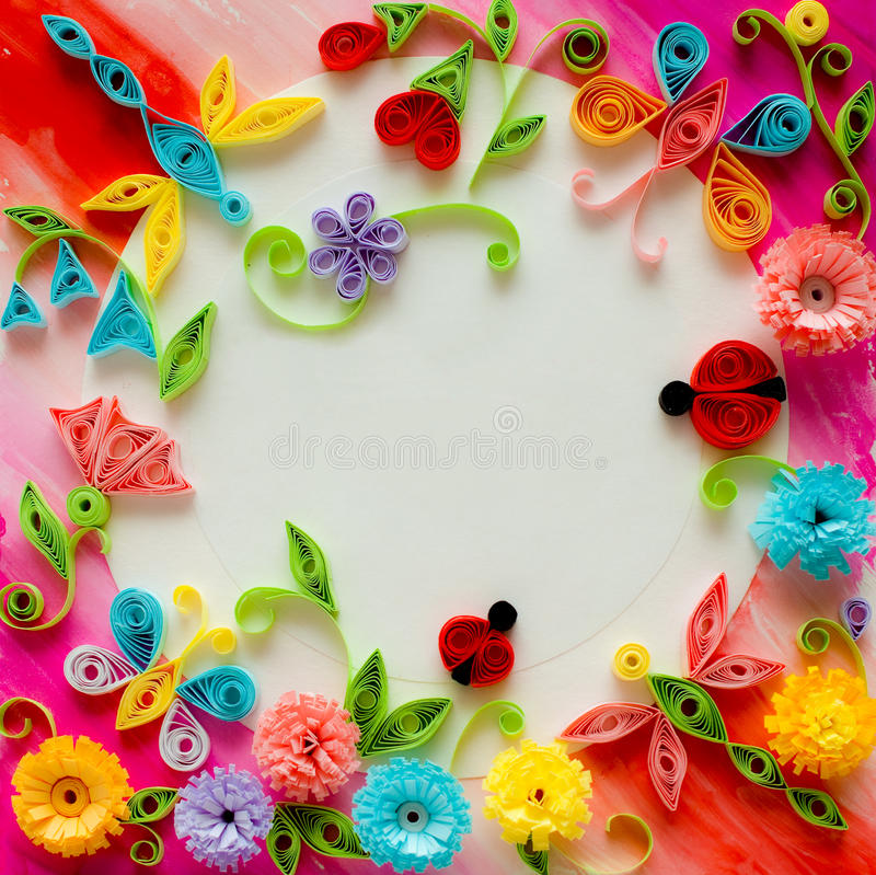 Quilling greeting card blank template. A template of greeting card handmade in quiling style royalty free stock images