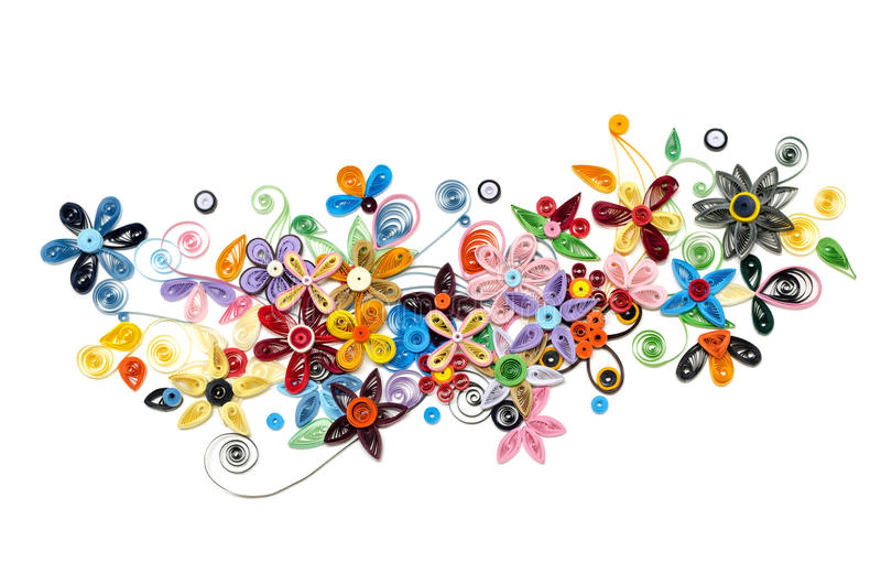 Quilling paper flower designs isolated on white royalty free stock photo