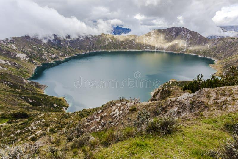 Quilotoa krateru jezioro, Ekwador obraz stock