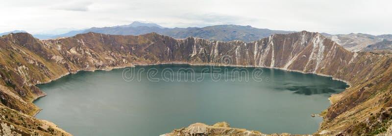 Quilotoa lake in Volcano Crater, Ecuador. Panoramic view of lake Quilotoa in the crater of a Volcano, Ecuador stock photos