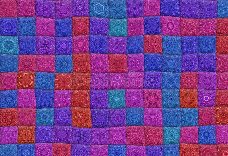 Quilt. Vivid quilt background texture in different colors vector illustration