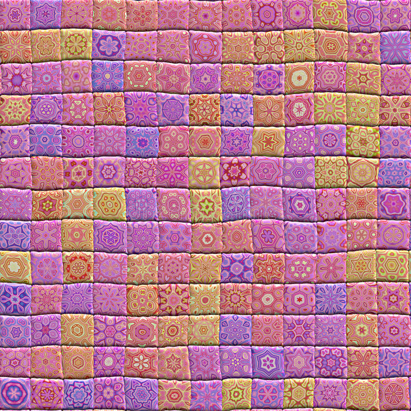 Quilt. An illustration of a hand crafted quilt made from patterned squares stock illustration