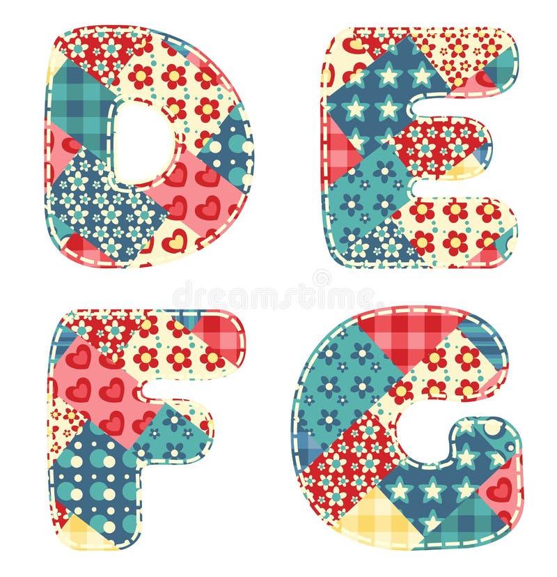 Quilt alphabet. Letters D, E, F, G on white stock illustration