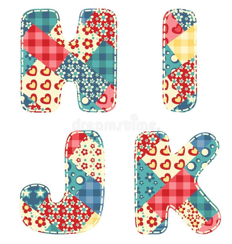 Quilt alphabet. Letters H, I, J, K on white royalty free illustration