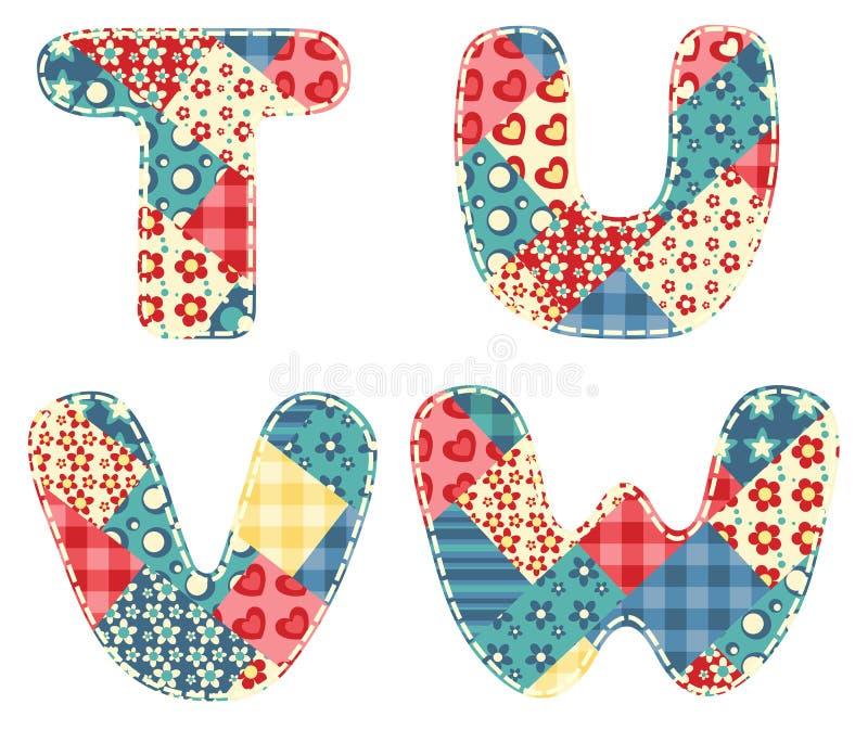 Quilt alphabet. Letters T, U, V, W on white stock illustration
