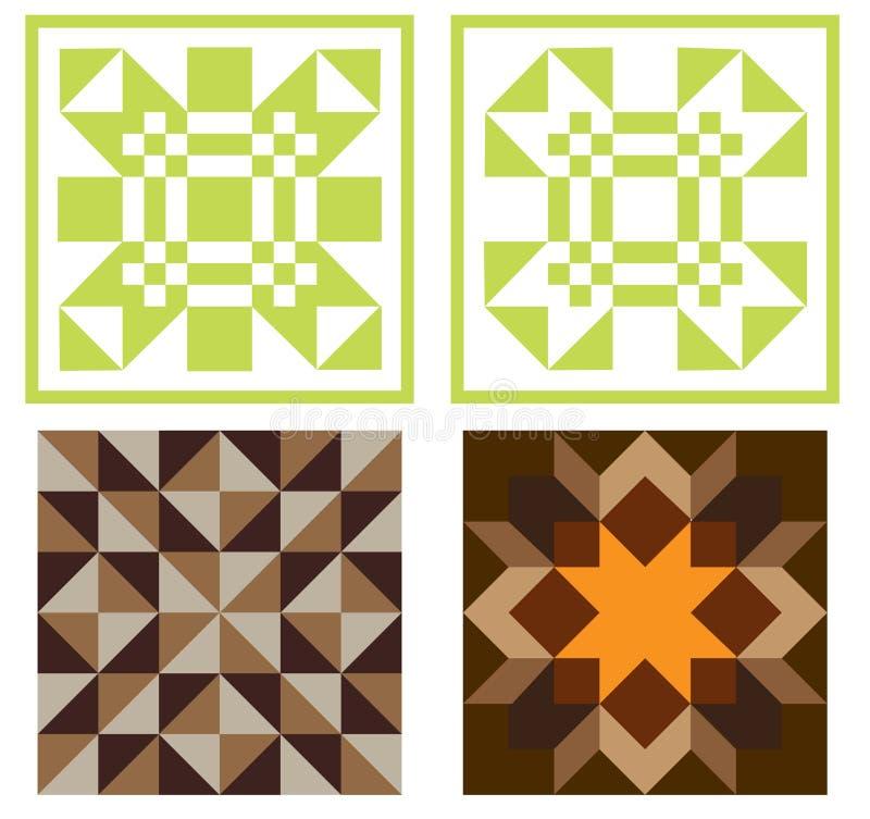 Quilt Blocks. Raster illustration of four quilt blocks isolated on white vector illustration