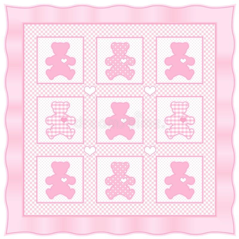Quilt de +EPS TeddyBear, cor-de-rosa de bebê ilustração stock