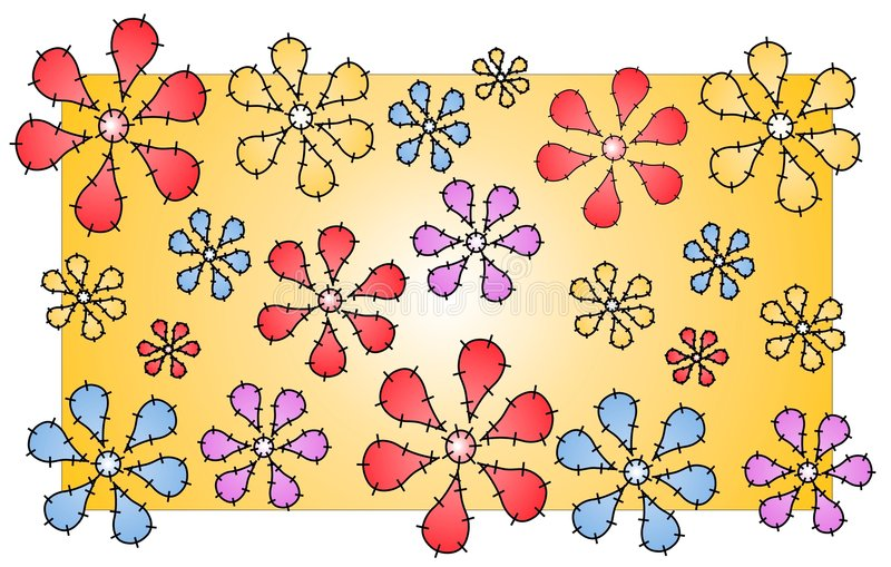 Download Quilt Flowers Pattern Stitches Stock Vector - Image: 2205494