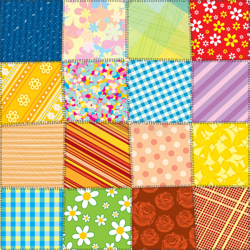 Quilt Patchwork Texture. Seamless Vector Pattern Stock Photography