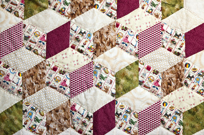 Quilt with pattern of squares royalty free stock photography