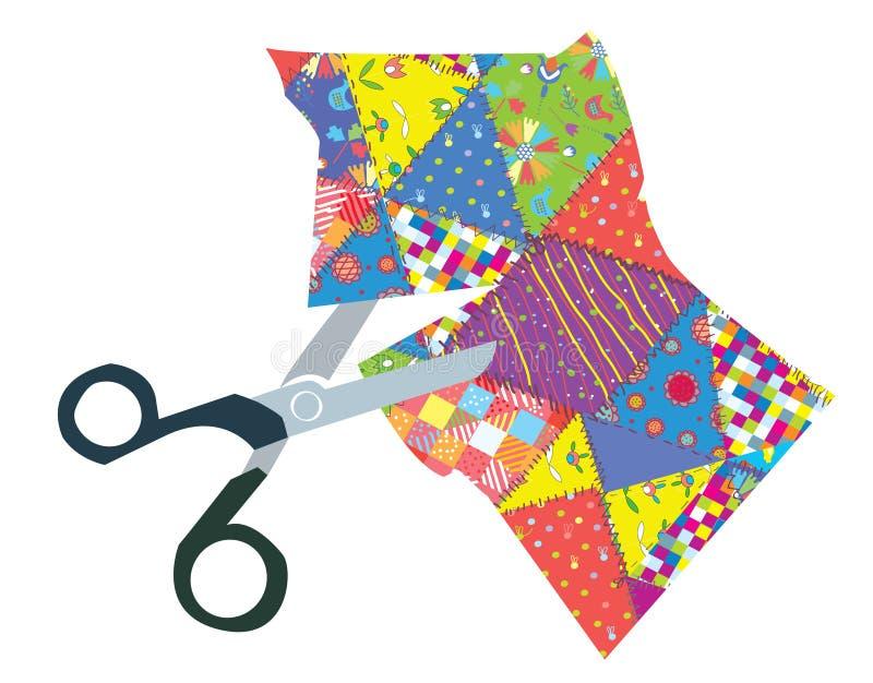 Quilt and scissors illustration. Quilt and scissors funny illustration stock illustration