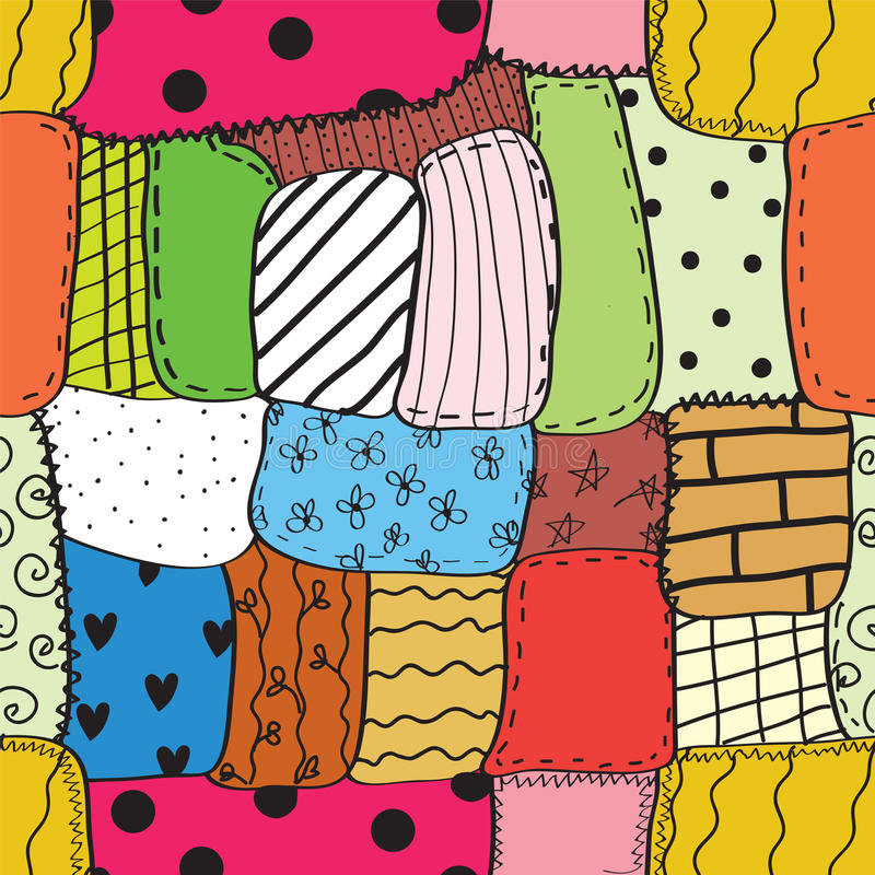 Quilt seamless wallpaper. With different patterns stock illustration