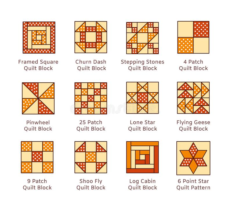 Quilt sewing pattern. Log cabin, pinwheel tiles. Quilting & patchwork blocks from fabric squares, triangles. Vector flat colorful. Icon set. Isolated objects on stock illustration