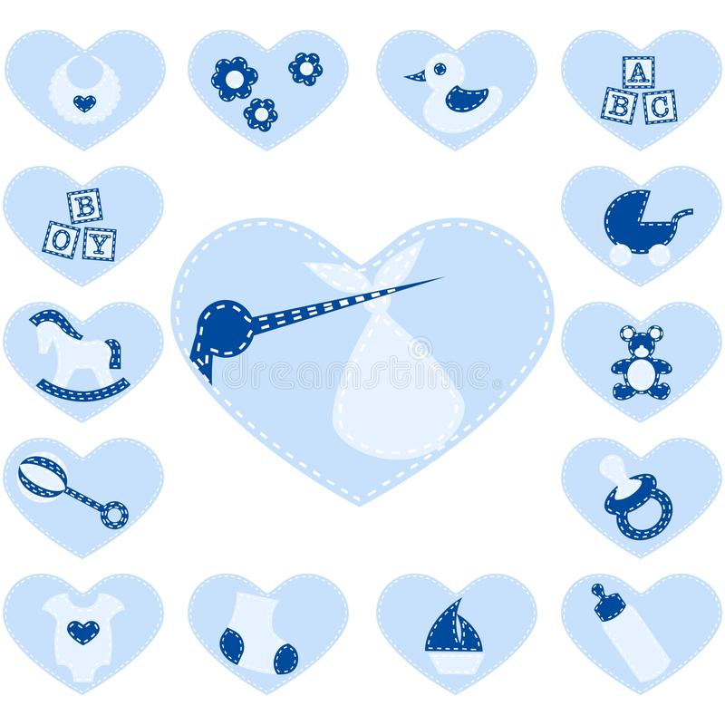 Quilted baby buttons for a boy stock illustration