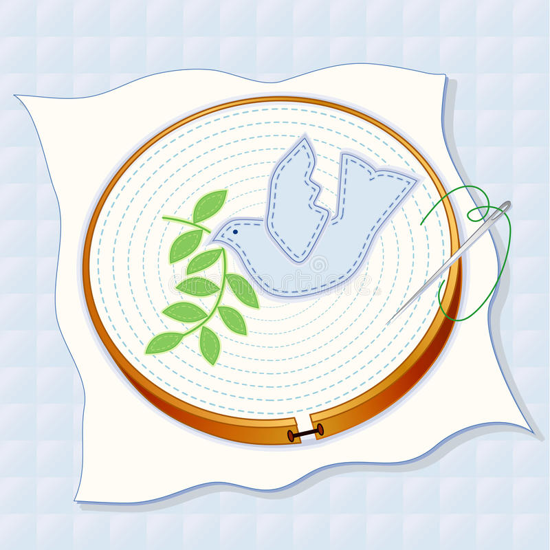 Download Quilted Background, Dove Of Peace Embroidery Royalty Free Stock Image - Image: 17616996