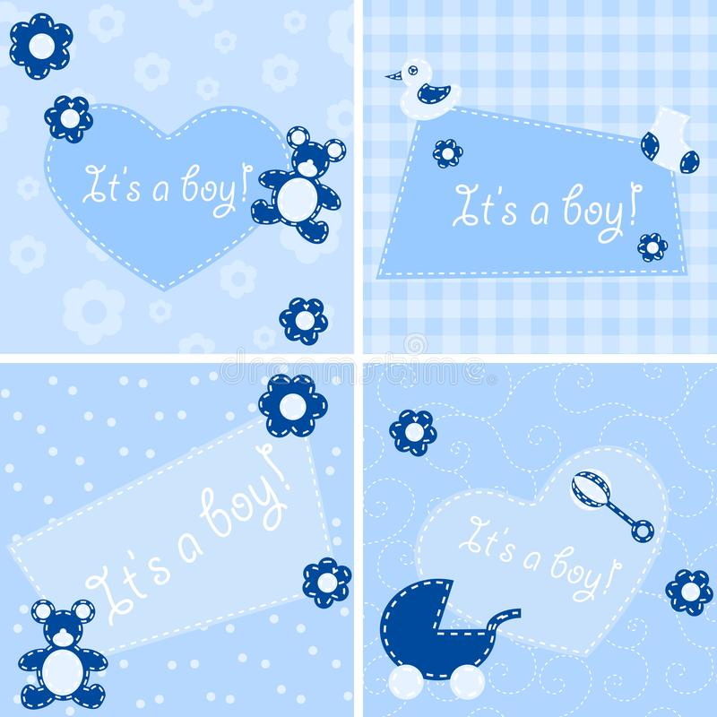 Download Quilted Birth Announcement Cards For A Boy Stock Vector - Image: 10115239
