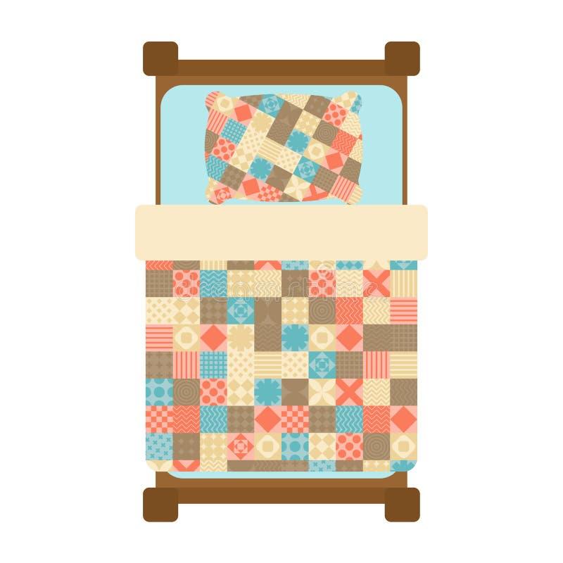 Quilted Blanket on bed. Patchwork Quilt. Hands made blanket. Vector illustration.  royalty free illustration
