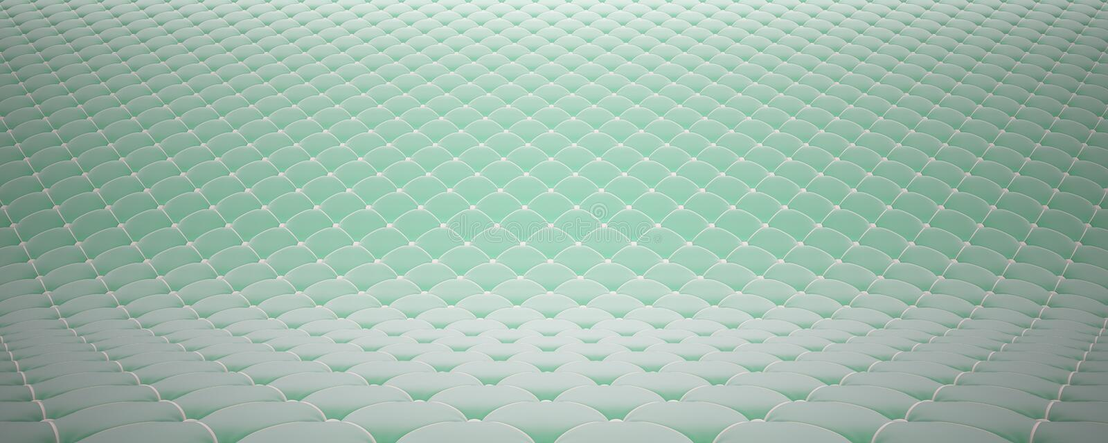 Quilted fabric surface. Turquoise velvet and white leather. Option 2 stock photo