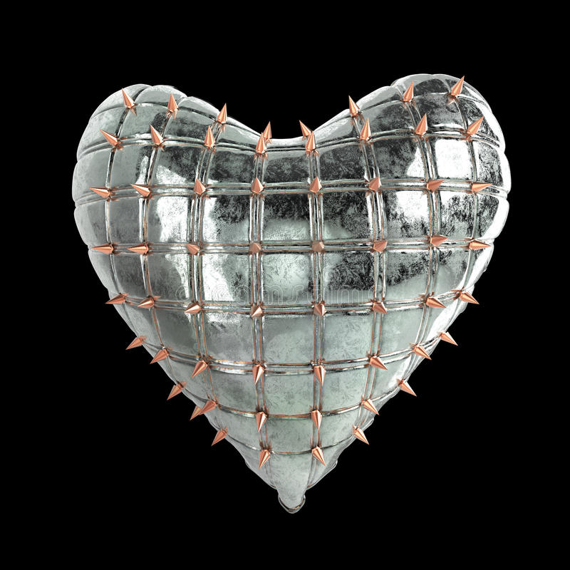 quilted heart with silver, kinky metal, steel spikes on surface, isolated black background rendering. BDSM style valentine. stock image