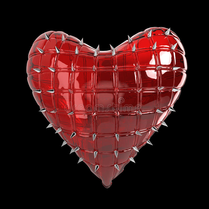quilted heart with silver, kinky metal, steel spikes on surface, isolated black background rendering. BDSM style valentine. stock photo