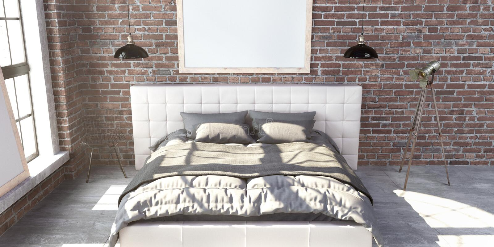 Quilted king size bed in the loft style bedroom. royalty free stock images