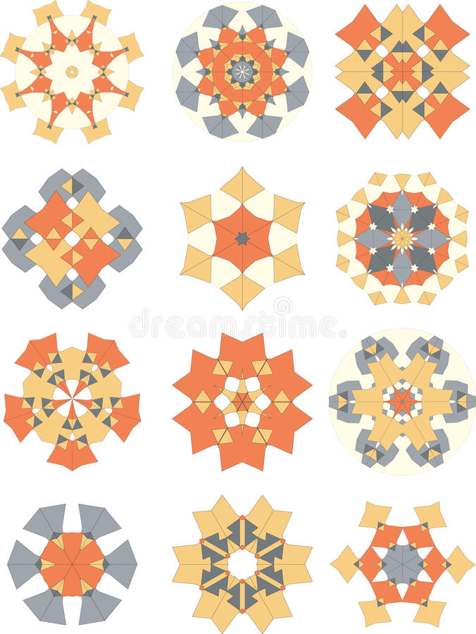 Quilted Ornaments Collection Stock Photos