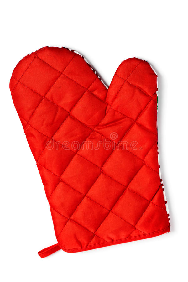 Quilted red heat protective mitten isolated