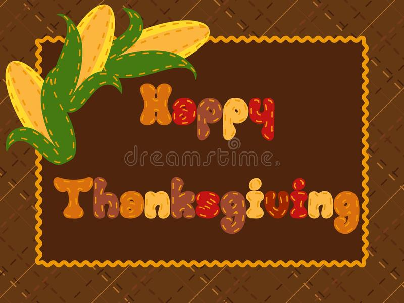Quilted Thanksgiving Postcard With A Corn Ears Stock Photography