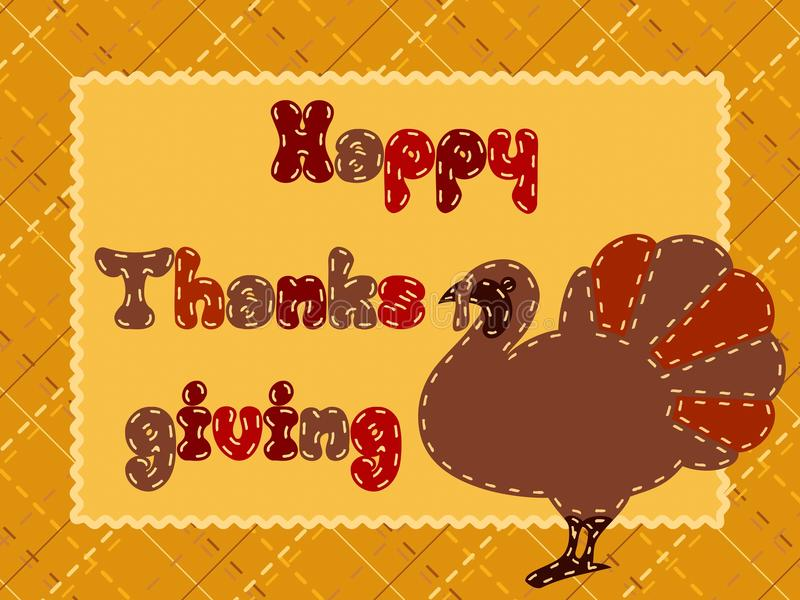 Download Quilted Thanksgiving Postcard With A Turkey Royalty Free Stock Images - Image: 16087809