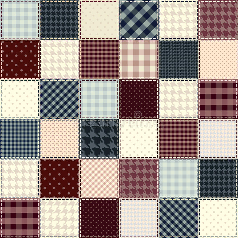 Quilting design in chess order. Seamless background texture vector illustration