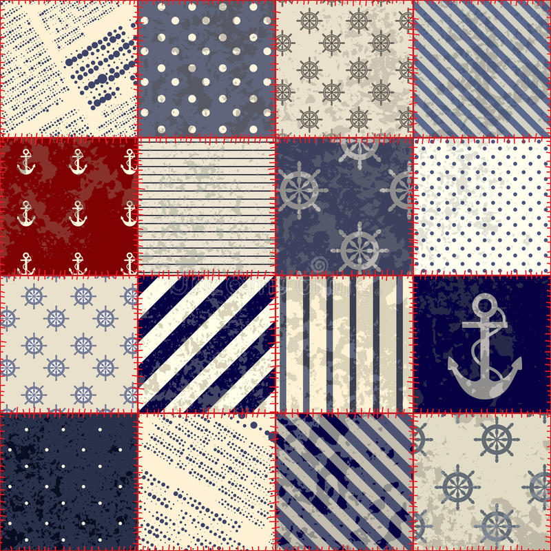 Download Quilting Design In Nautical Style Stock Vector - Image: 30339044