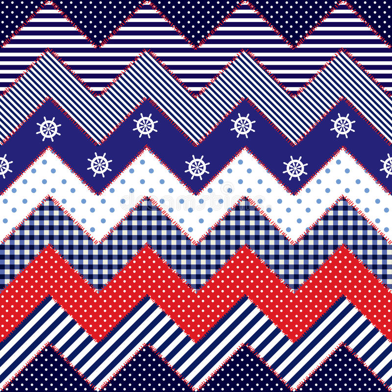 Quilting design in nautical style. Seamless background pattern. Will tile endlessly. Quilting design in nautical style stock illustration
