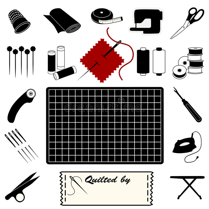 Quilting Tools and Supplies. Collection of 20 tools and supplies for quilting, patchwork, applique & trapunto: thimble, bolt of cloth, tape measure, sewing vector illustration