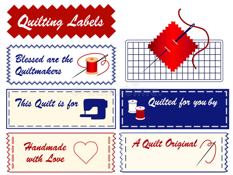 Quilting Labels. Personalize your project. Copy space to add your name to this collection of labels for quilting, patchwork, applique, trapunto and do it vector illustration