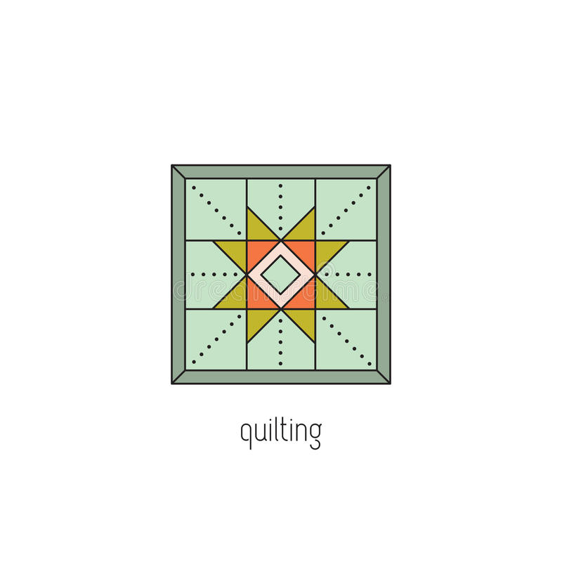 Quilting line icon. Quilting vector thin line icon. Patchwork blanket, handmade quilt. Colored isolated symbol. Logo template, element for business card or stock illustration