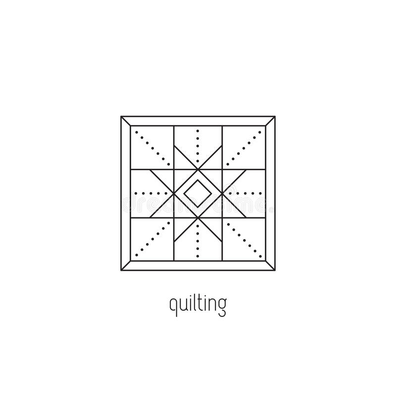 Quilting line icon. Quilting vector thin line icon. Patchwork blanket, handmade quilt. Colored isolated symbol. Logo template, element for business card or royalty free illustration