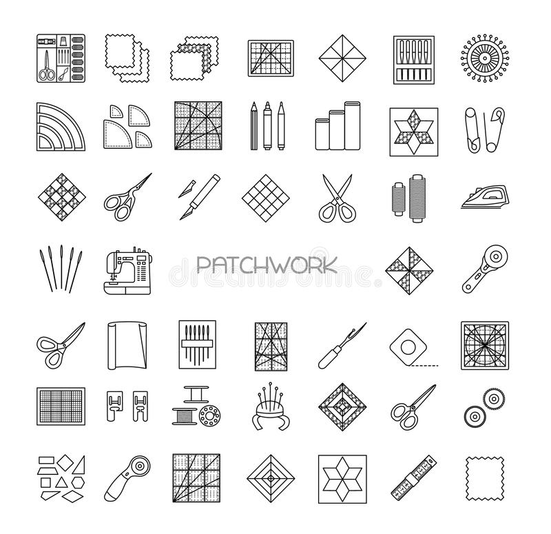 Quilting line icons set. Patchwork supplies and accessories. stock illustration